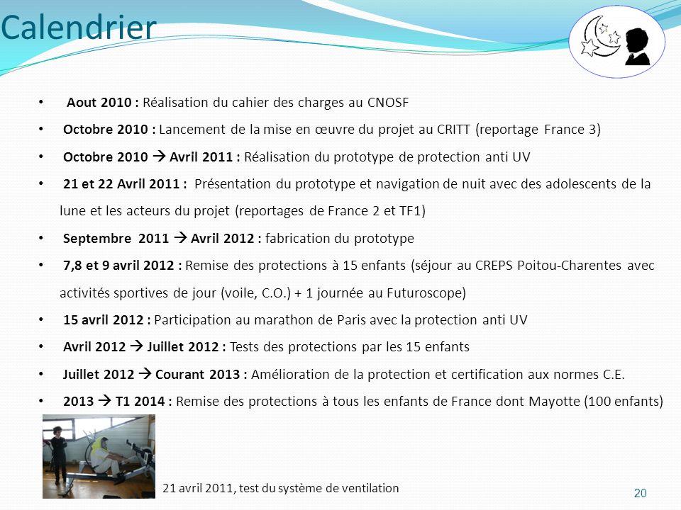 Calendrier 20 Aout 2010 : Réalisation du cahier des charges au CNOSF Octobre 2010 : Lancement de la mise en œuvre du projet au CRITT (reportage France