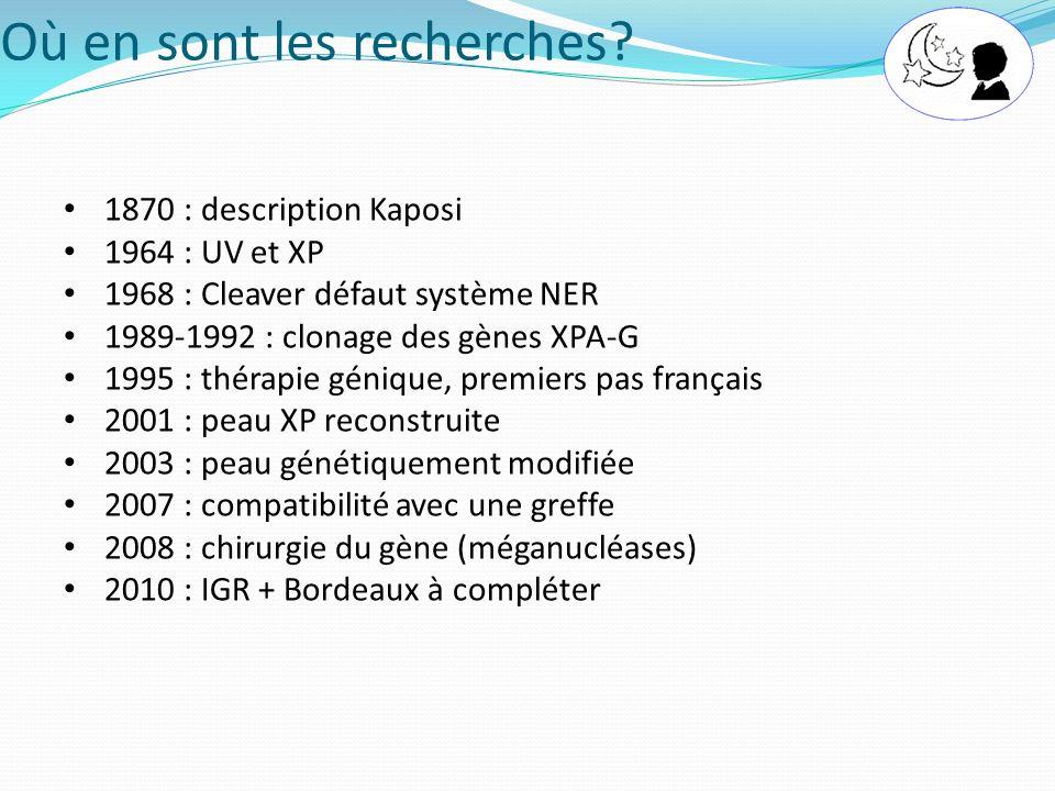 Où en sont les recherches? 1870 : description Kaposi 1964 : UV et XP 1968 : Cleaver défaut système NER 1989-1992 : clonage des gènes XPA-G 1995 : thér