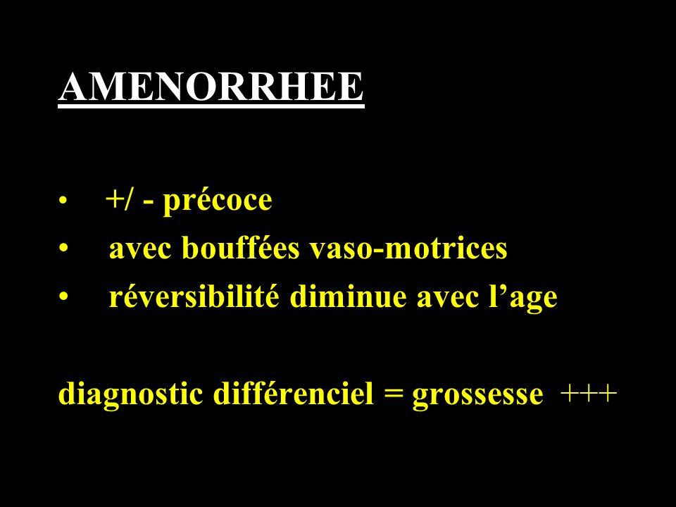 AMENORRHEE +/ - précoce avec bouffées vaso-motrices réversibilité diminue avec lage diagnostic différenciel = grossesse +++