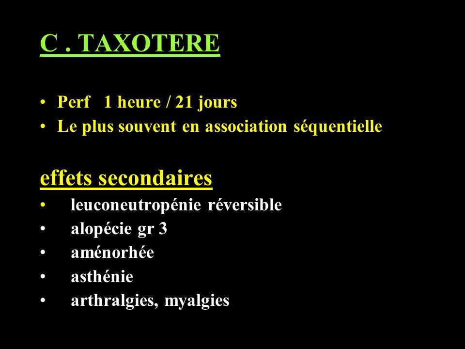C. TAXOTERE Perf 1 heure / 21 jours Le plus souvent en association séquentielle effets secondaires leuconeutropénie réversible alopécie gr 3 aménorhée