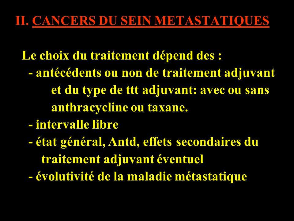 II. CANCERS DU SEIN METASTATIQUES Le choix du traitement dépend des : - antécédents ou non de traitement adjuvant et du type de ttt adjuvant: avec ou