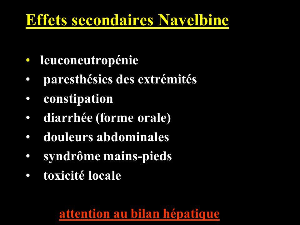 Effets secondaires Navelbine leuconeutropénie paresthésies des extrémités constipation diarrhée (forme orale) douleurs abdominales syndrôme mains-pied