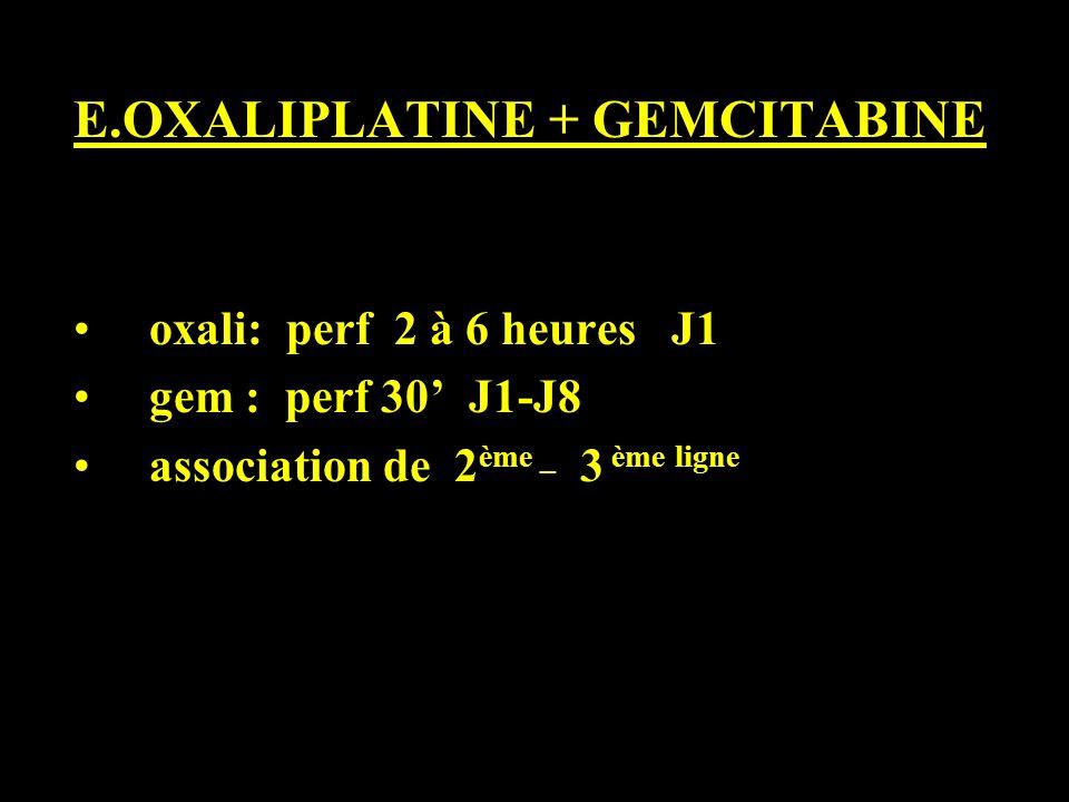 E.OXALIPLATINE + GEMCITABINE oxali: perf 2 à 6 heures J1 gem : perf 30 J1-J8 association de 2 ème _ 3 ème ligne