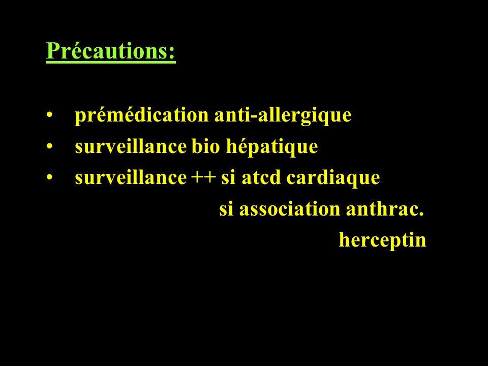 Précautions: prémédication anti-allergique surveillance bio hépatique surveillance ++ si atcd cardiaque si association anthrac. herceptin