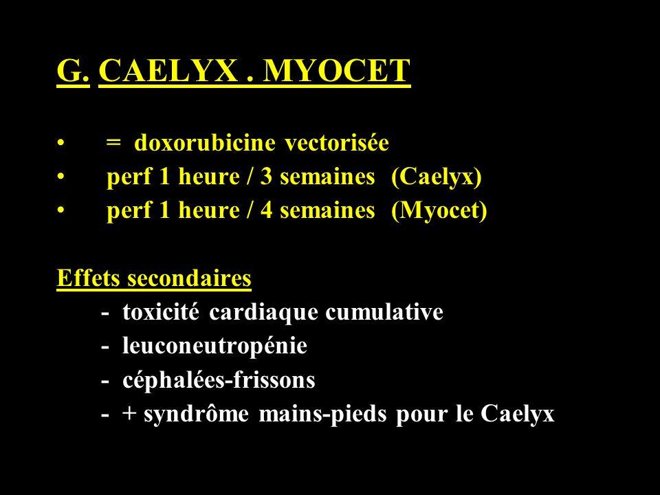 G. CAELYX. MYOCET = doxorubicine vectorisée perf 1 heure / 3 semaines (Caelyx) perf 1 heure / 4 semaines (Myocet) Effets secondaires - toxicité cardia