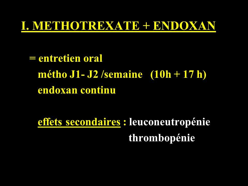 I. METHOTREXATE + ENDOXAN = entretien oral métho J1- J2 /semaine (10h + 17 h) endoxan continu effets secondaires : leuconeutropénie thrombopénie