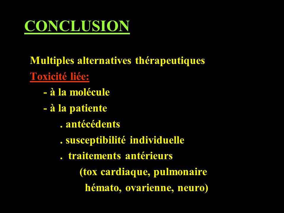 CONCLUSION Multiples alternatives thérapeutiques Toxicité liée: - à la molécule - à la patiente. antécédents. susceptibilité individuelle. traitements