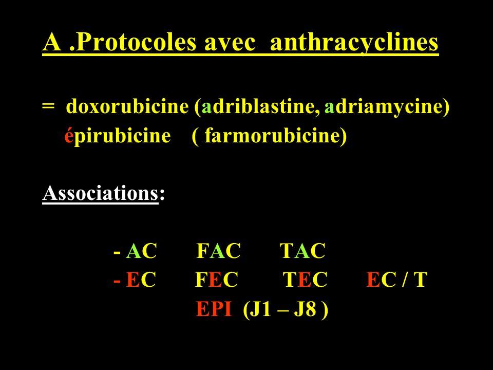 A.Protocoles avec anthracyclines = doxorubicine (adriblastine, adriamycine) épirubicine ( farmorubicine) Associations: - AC FAC TAC - EC FEC TEC EC /