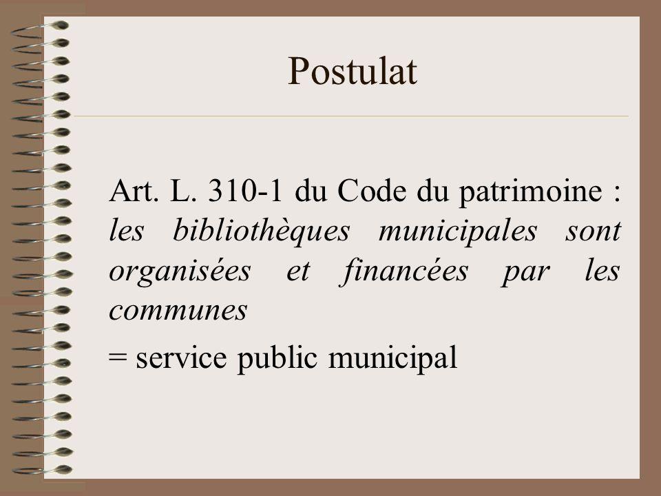 Postulat Art. L. 310-1 du Code du patrimoine : les bibliothèques municipales sont organisées et financées par les communes = service public municipal