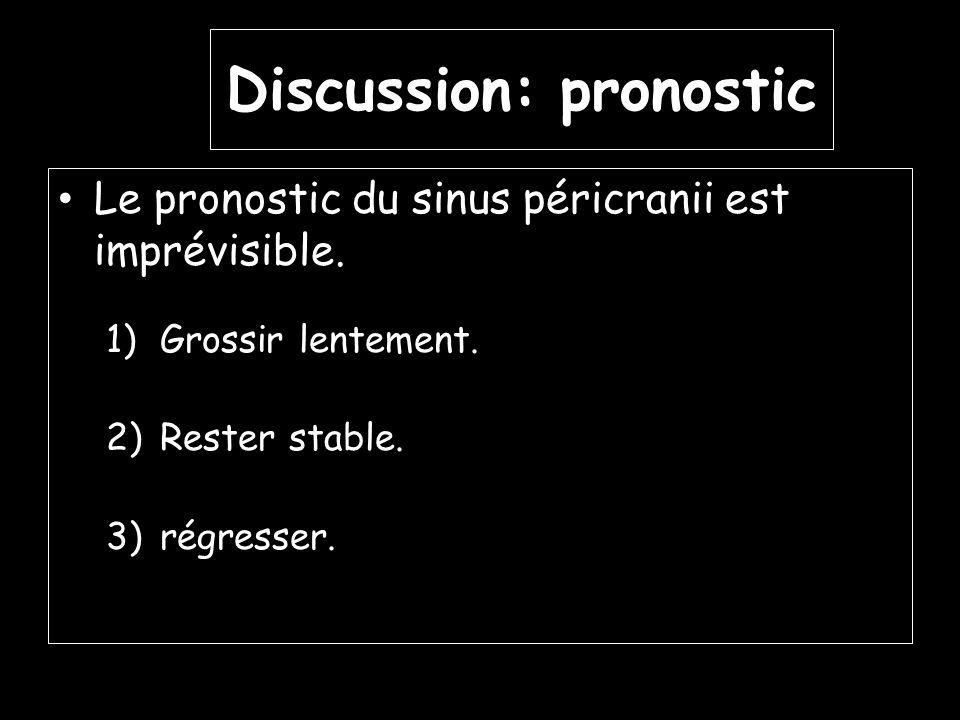 Discussion: pronostic Le pronostic du sinus péricranii est imprévisible. 1)Grossir lentement. 2)Rester stable. 3)régresser.