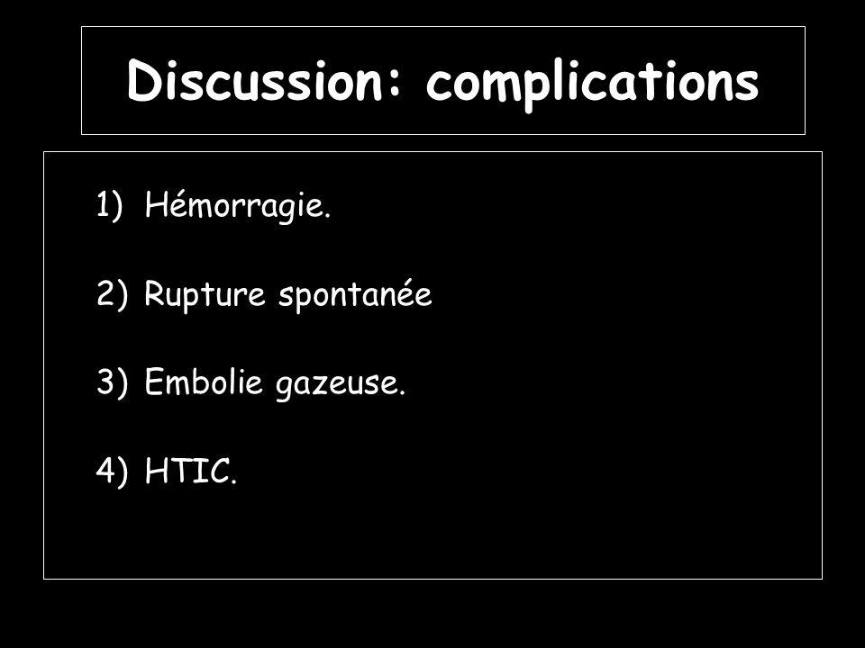 Discussion: complications 1)Hémorragie. 2)Rupture spontanée 3)Embolie gazeuse. 4)HTIC.