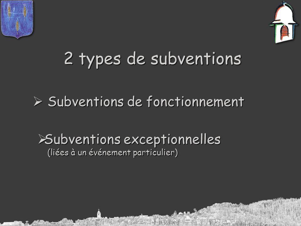 2 types de subventions Subventions de fonctionnement Subventions de fonctionnement Subventions exceptionnelles Subventions exceptionnelles (liées à un événement particulier) (liées à un événement particulier)