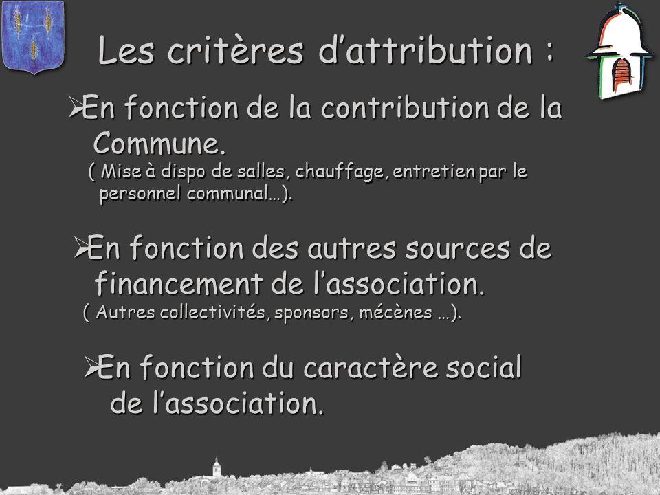 Les critères dattribution : En fonction de la contribution de la En fonction de la contribution de la Commune. Commune. ( Mise à dispo de salles, chau