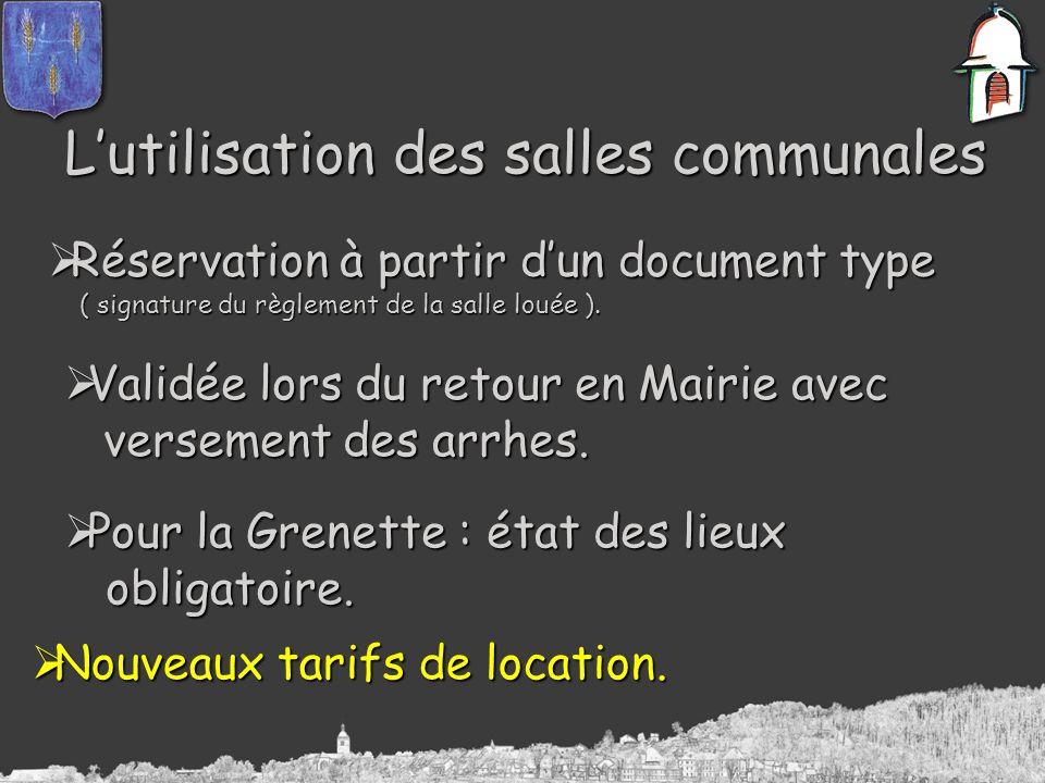 Lutilisation des salles communales Réservation à partir dun document type Réservation à partir dun document type ( signature du règlement de la salle louée ).