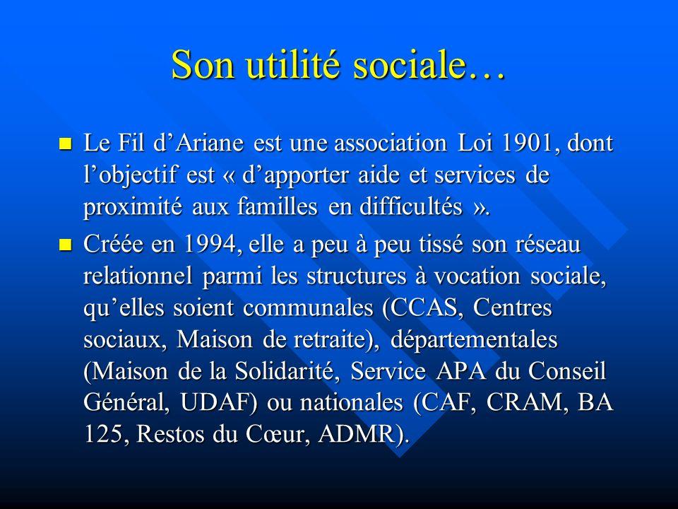 Son utilité sociale… Le Fil dAriane est une association Loi 1901, dont lobjectif est « dapporter aide et services de proximité aux familles en difficultés ».