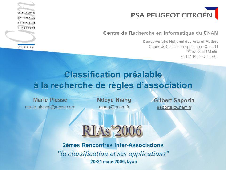 20 mars 2006 SOMMAIRE Problématique industrielle La recherche de règles d association Méthodes de classification de variables Utilisation conjointe des deux méthodes Conclusion & Perspectives