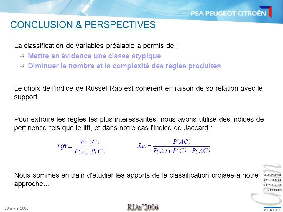 20 mars 2006 CONCLUSION & PERSPECTIVES La classification de variables préalable a permis de : Mettre en évidence une classe atypique Diminuer le nombr