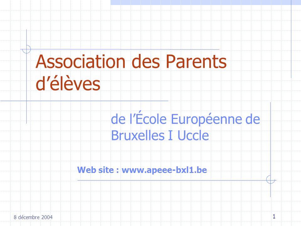 1 Association des Parents délèves de lÉcole Européenne de Bruxelles I Uccle 8 décembre 2004 Web site : www.apeee-bxl1.be