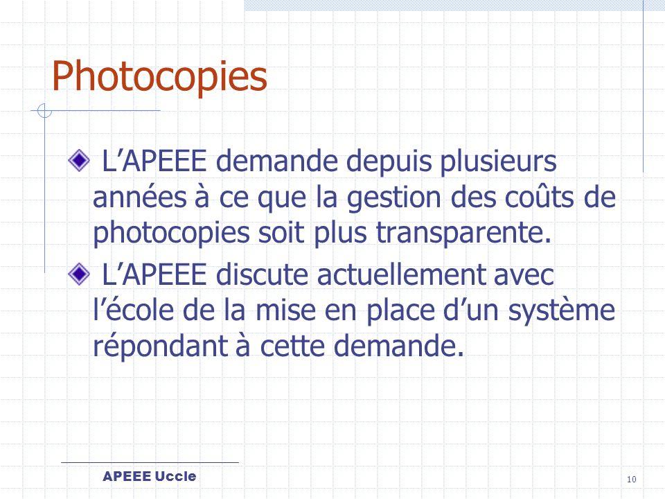 APEEE Uccle 10 Photocopies LAPEEE demande depuis plusieurs années à ce que la gestion des coûts de photocopies soit plus transparente.
