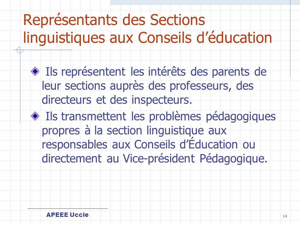 APEEE Uccle 14 Représentants des Sections linguistiques aux Conseils déducation Ils représentent les intérêts des parents de leur sections auprès des professeurs, des directeurs et des inspecteurs.