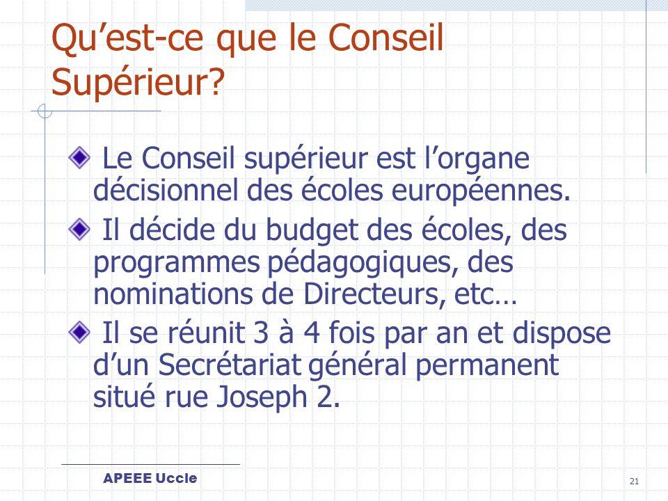 APEEE Uccle 21 Quest-ce que le Conseil Supérieur.