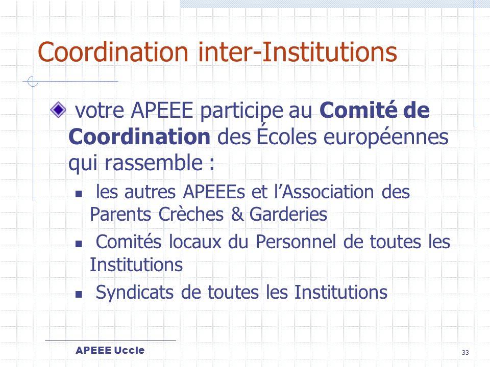 APEEE Uccle 33 Coordination inter-Institutions votre APEEE participe au Comité de Coordination des Écoles européennes qui rassemble : les autres APEEEs et lAssociation des Parents Crèches & Garderies Comités locaux du Personnel de toutes les Institutions Syndicats de toutes les Institutions