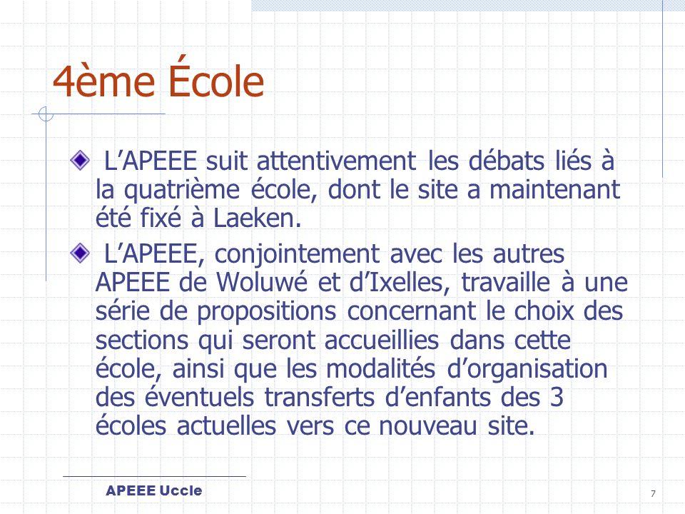 APEEE Uccle 7 4ème École LAPEEE suit attentivement les débats liés à la quatrième école, dont le site a maintenant été fixé à Laeken.