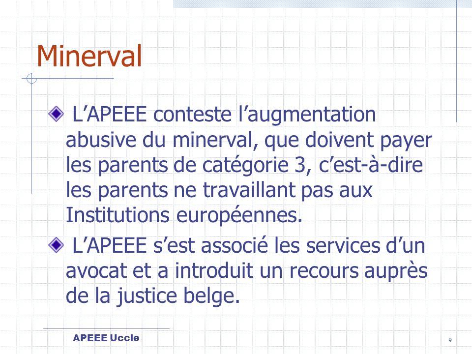 APEEE Uccle 9 Minerval LAPEEE conteste laugmentation abusive du minerval, que doivent payer les parents de catégorie 3, cest-à-dire les parents ne travaillant pas aux Institutions européennes.