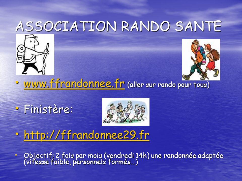 ASSOCIATION RANDO SANTE www.ffrandonnee.fr (aller sur rando pour tous) www.ffrandonnee.fr (aller sur rando pour tous) www.ffrandonnee.fr Finistère: Fi