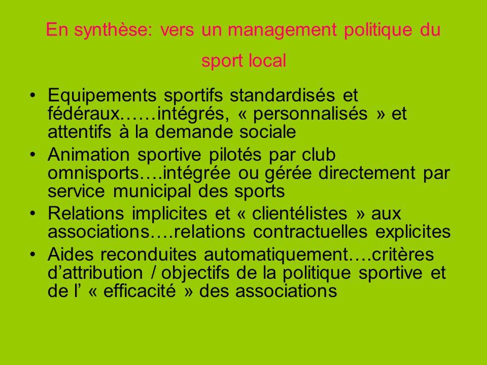En synthèse: vers un management politique du sport local Equipements sportifs standardisés et fédéraux……intégrés, « personnalisés » et attentifs à la