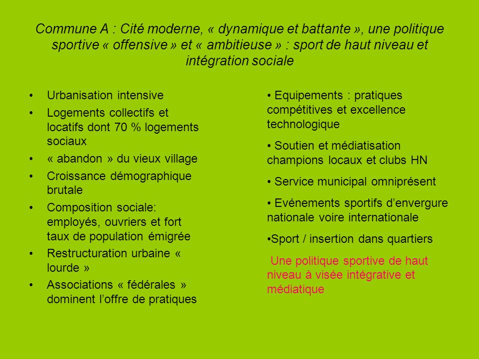 Commune A : Cité moderne, « dynamique et battante », une politique sportive « offensive » et « ambitieuse » : sport de haut niveau et intégration soci