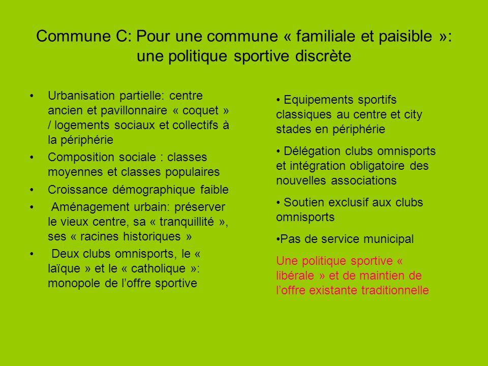 Commune C: Pour une commune « familiale et paisible »: une politique sportive discrète Urbanisation partielle: centre ancien et pavillonnaire « coquet