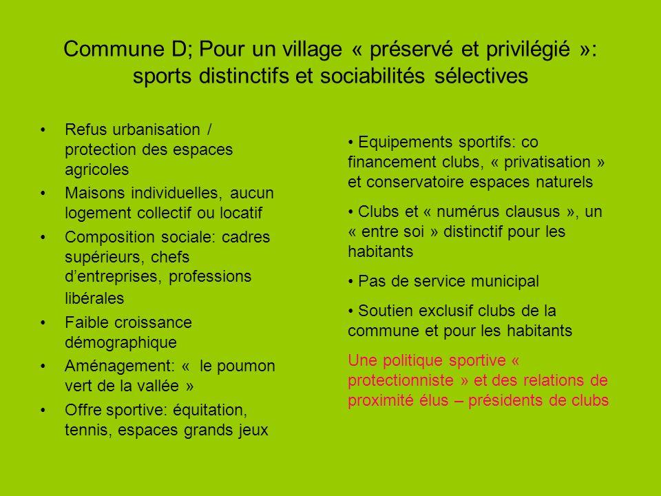 Commune D; Pour un village « préservé et privilégié »: sports distinctifs et sociabilités sélectives Refus urbanisation / protection des espaces agric