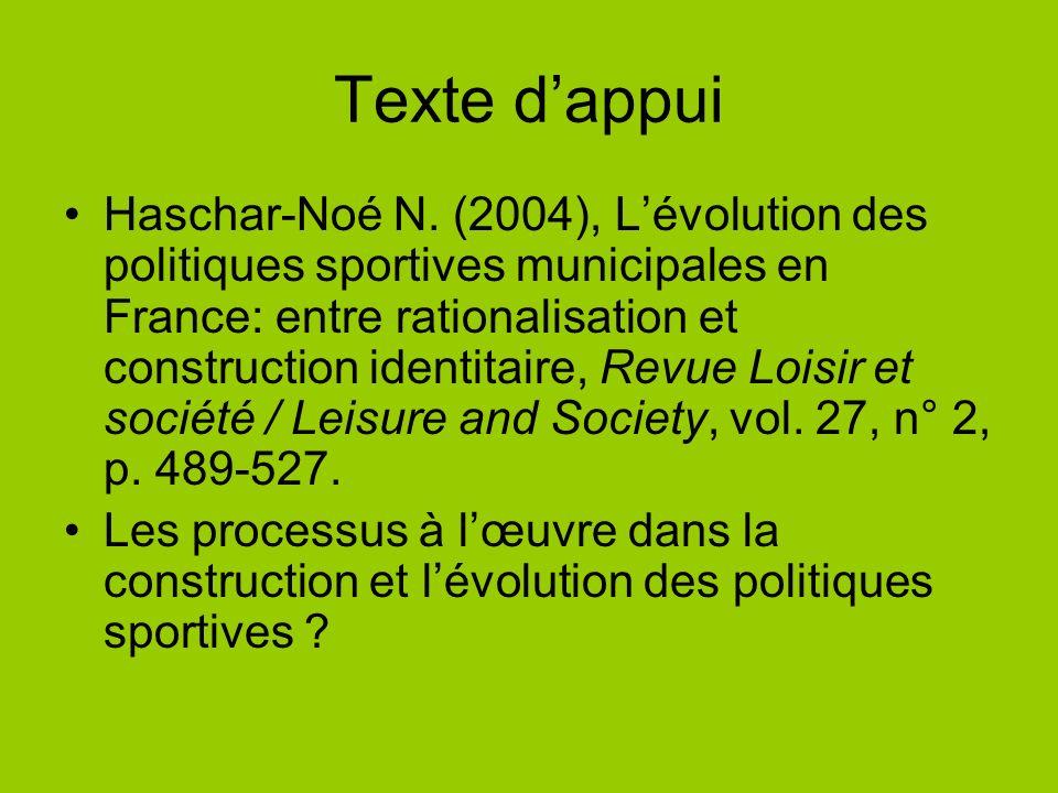 Texte dappui Haschar-Noé N. (2004), Lévolution des politiques sportives municipales en France: entre rationalisation et construction identitaire, Revu