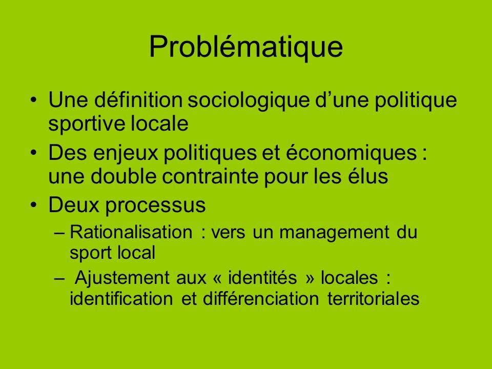 Problématique Une définition sociologique dune politique sportive locale Des enjeux politiques et économiques : une double contrainte pour les élus De