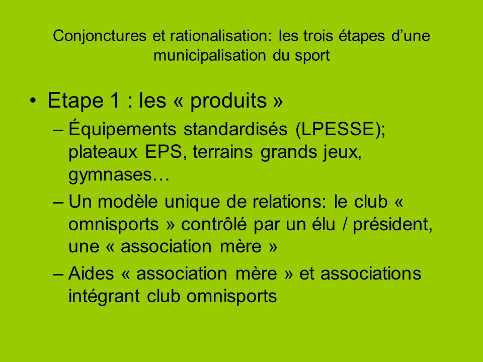 Conjonctures et rationalisation: les trois étapes dune municipalisation du sport Etape 1 : les « produits » –Équipements standardisés (LPESSE); platea