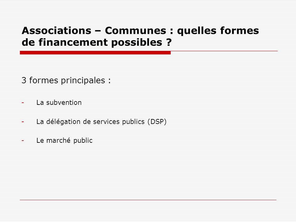 Subvention (Loi n°2000-321 du 12 avril 2000) Définition : « une contribution financière de la personne publique à une opération justifiée par lintérêt général, mais qui est initiée et menée par un tiers.
