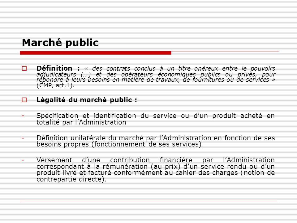 Marché public Définition : « des contrats conclus à un titre onéreux entre le pouvoirs adjudicateurs (…) et des opérateurs économiques publics ou privés, pour répondre à leurs besoins en matière de travaux, de fournitures ou de services » (CMP, art.1).