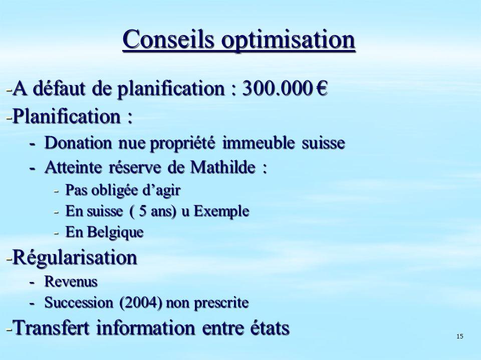 Conseils optimisation -A défaut de planification : 300.000 -A défaut de planification : 300.000 -Planification : -Donation nue propriété immeuble suis