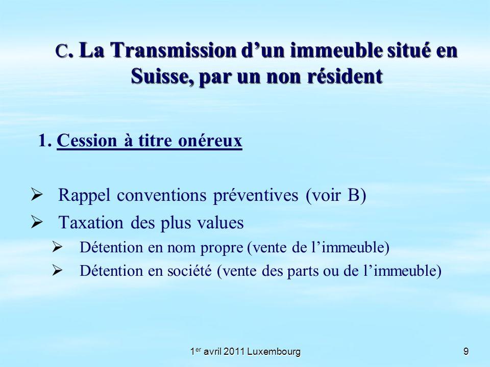 1 er avril 2011 Luxembourg9 C. La Transmission dun immeuble situé en Suisse, par un non résident 1. Cession à titre onéreux Rappel conventions prévent