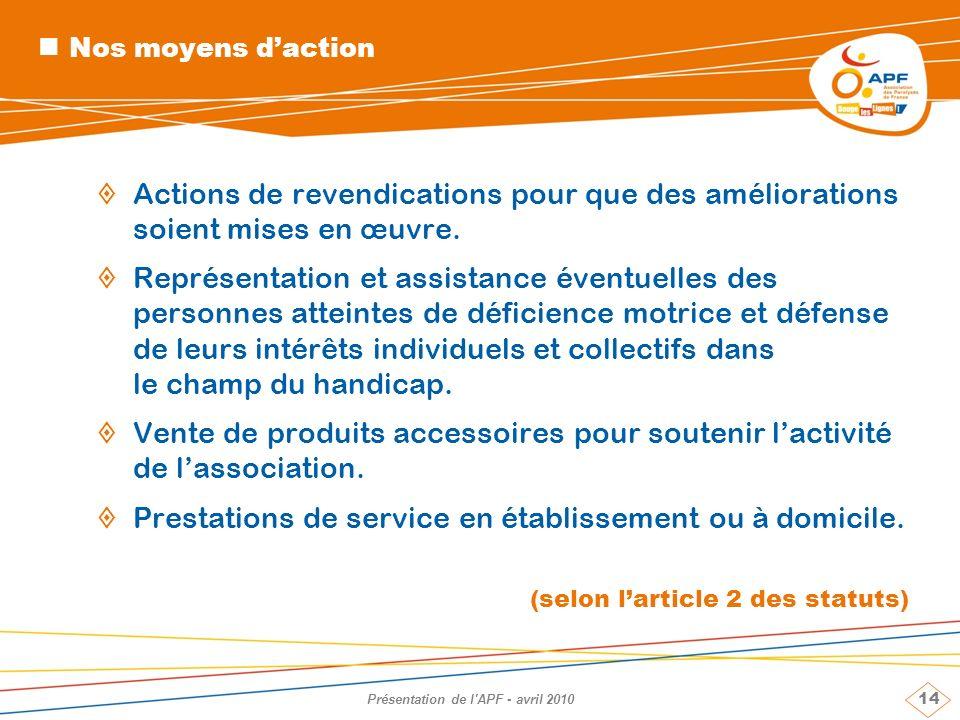 14 Présentation de l'APF - avril 2010 Nos moyens daction Actions de revendications pour que des améliorations soient mises en œuvre. Représentation et