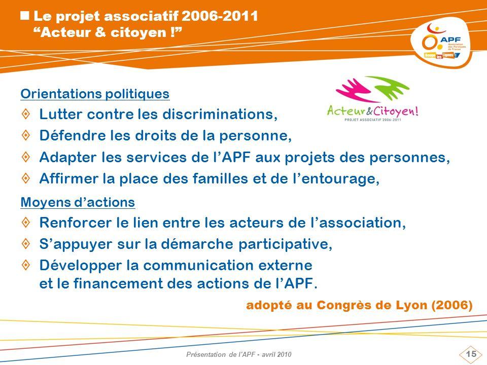 15 Présentation de l'APF - avril 2010 Le projet associatif 2006-2011 Acteur & citoyen ! Orientations politiques Lutter contre les discriminations, Déf