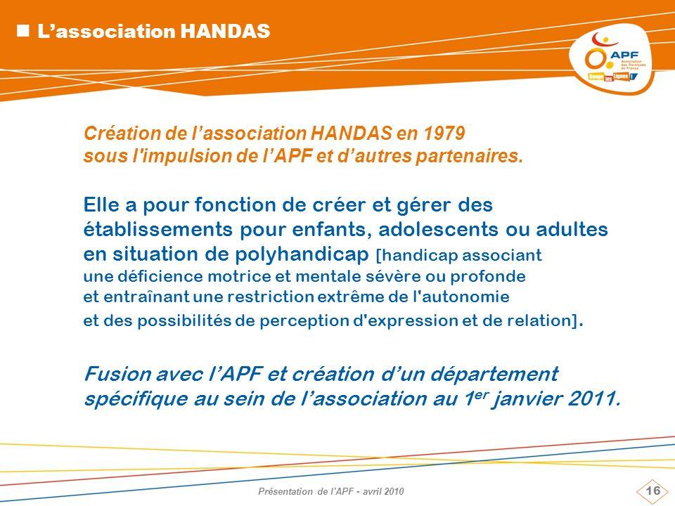 16 Présentation de l'APF - avril 2010 Lassociation HANDAS Création de lassociation HANDAS en 1979 sous l'impulsion de lAPF et dautres partenaires. Ell