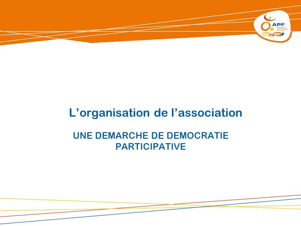 Lorganisation de lassociation UNE DEMARCHE DE DEMOCRATIE PARTICIPATIVE