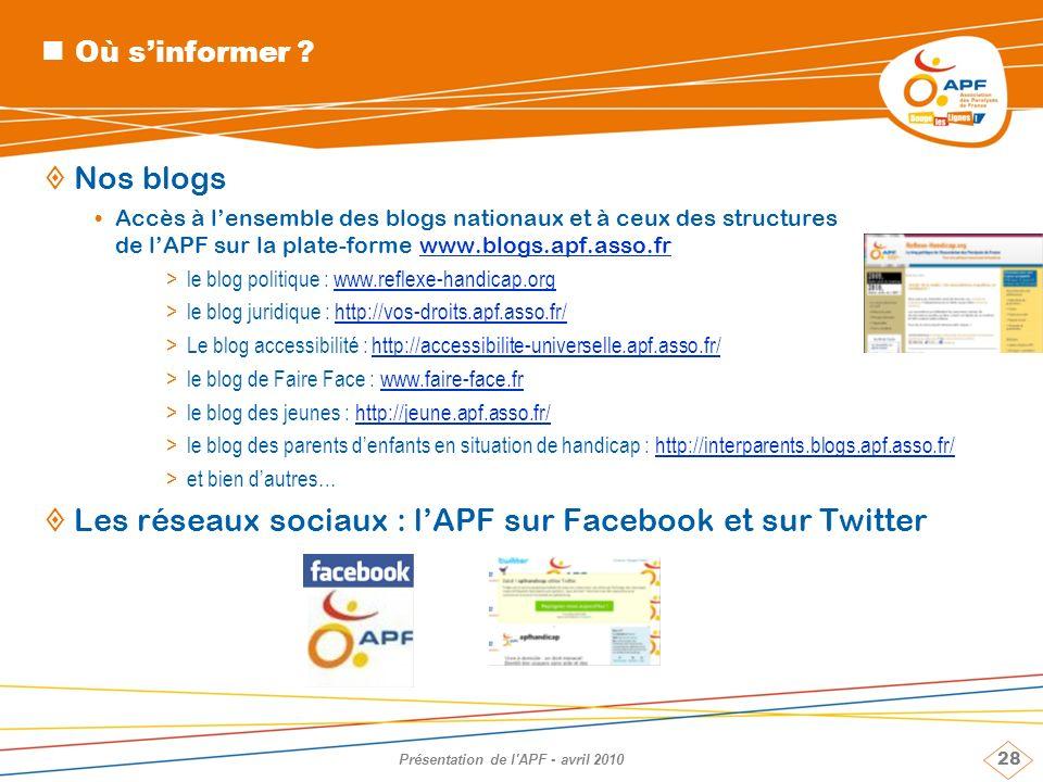 28 Présentation de l'APF - avril 2010 Où sinformer ? Nos blogs Accès à lensemble des blogs nationaux et à ceux des structures de lAPF sur la plate-for