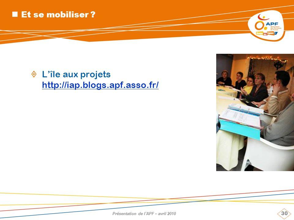30 Présentation de l'APF - avril 2010 Et se mobiliser ? Lîle aux projets http://iap.blogs.apf.asso.fr/ http://iap.blogs.apf.asso.fr/