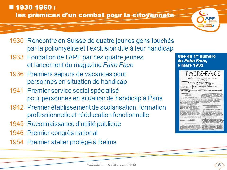5 Présentation de l'APF - avril 2010 1930-1960 : les prémices dun combat pour la citoyenneté 1930 Rencontre en Suisse de quatre jeunes gens touchés pa
