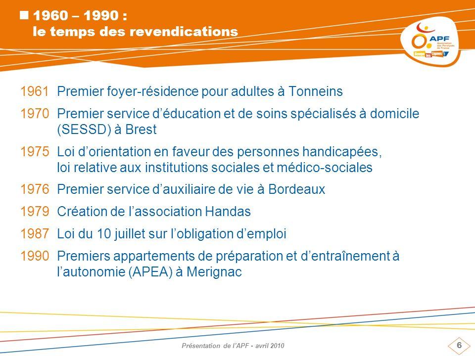 7 Présentation de l APF - avril 2010 199225 000 personnes en situation de handicap et leur famille dans les rues de Paris, pour des ressources décentes et une juste compensation des coûts occasionnés par le handicap 1993Première équipe spécialisée pour une vie autonome à domicile (ESVAD) à Montpellier 1997Congrès de Deauville, adoption de la Charte de lAPF >