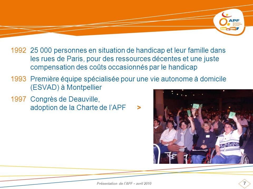 7 Présentation de l'APF - avril 2010 199225 000 personnes en situation de handicap et leur famille dans les rues de Paris, pour des ressources décente
