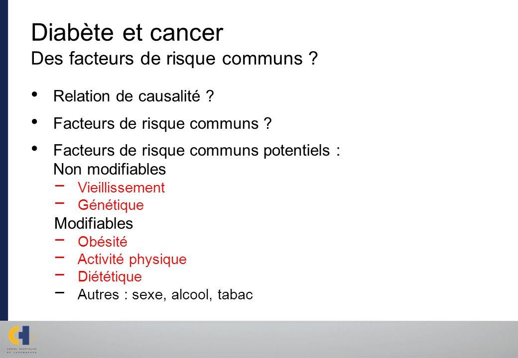 Diabète et cancer Des facteurs de risque communs ? Relation de causalité ? Facteurs de risque communs ? Facteurs de risque communs potentiels : Non mo